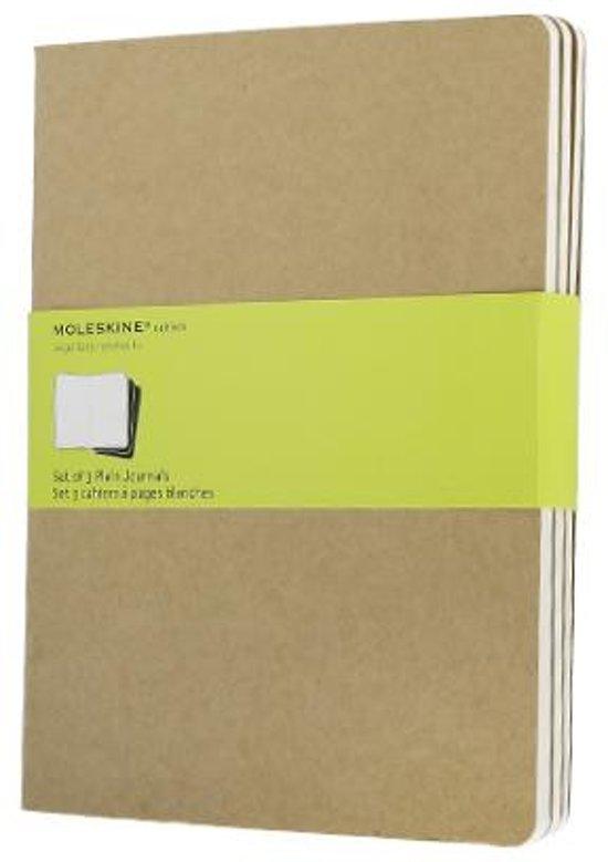 Moleskine cahier notitieboek (set van 3) beige - XL - Blanco