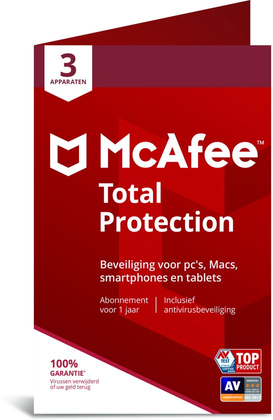 McAfee Total Protection - Multi-Device - 3 Apparaten - 1 Jaar - Nederlands / Frans - Windows / Mac