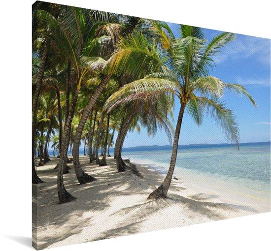 Wit zand en helder water bij de San Blas-eilanden in Panama Canvas 90x60 cm - Foto print op Canvas schilderij (Wanddecoratie woonkamer / slaapkamer)