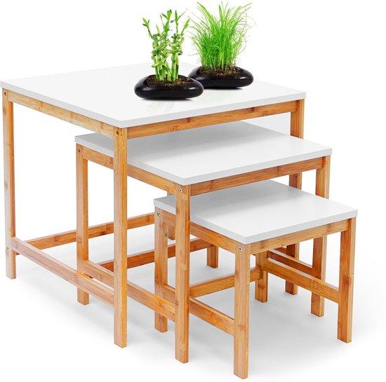3 Delig Bijzettafel.Bol Com Relaxdays 3x Tafel Bamboe Hout Houten Bijzettafel Set