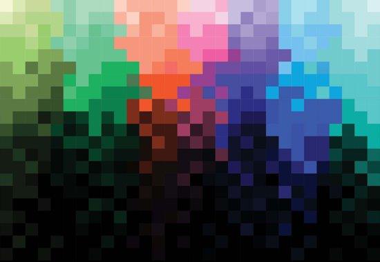 Fotobehang Rainbow Pattern Pixel | XXXL - 416cm x 254cm | 130g/m2 Vlies