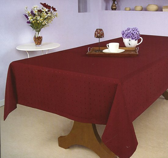 Luxe Stoffen Tafellaken - Tafelkleed - Tafelzeil - Hoogwaardig - Ovaal - Punto Bordeaux - Rood - 150 x 240 cm