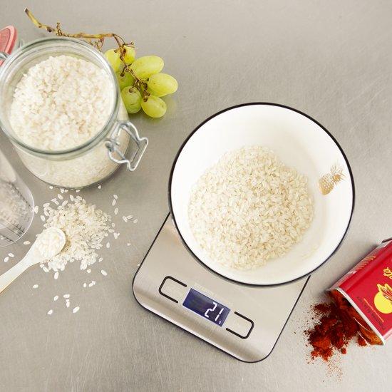 KitchenBrothers Digitale Precisie Keukenweegschaal RVS - met Tarra Functie - Tot 5 kg - Inclusief Batterijen