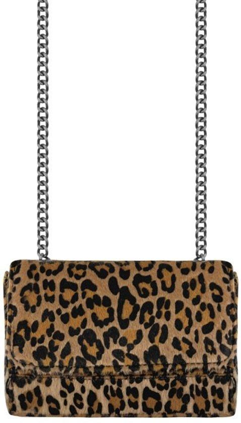 Leopard print schoudertas bruin ketting 47c3954bd4