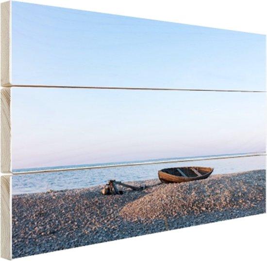 Boot op het strand Hout 80x60 cm - Foto print op Hout (Wanddecoratie) / Zee en Strand