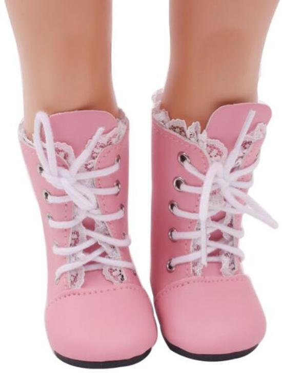 B-Merk Baby Born schoentjes, roze met kant