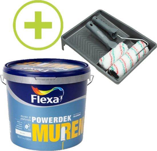 Flexa Powerdek Muurverf - 10L - Muren & Plafonds - 9010 + Professionele Muurverfset 6-delig