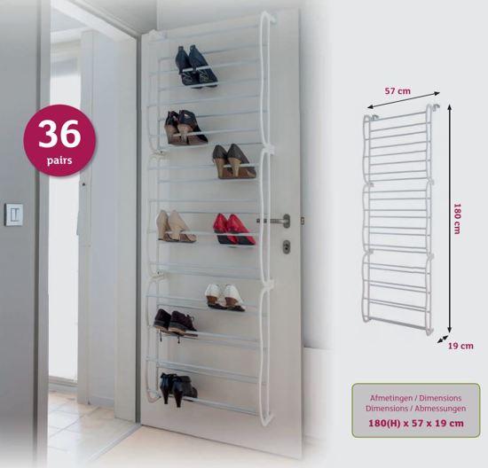 Schoenenkast Voor 36 Paar Schoenen.Schoenenrek 36 Paar Wit Voor Stompe Deuren 180x57x19 Cm