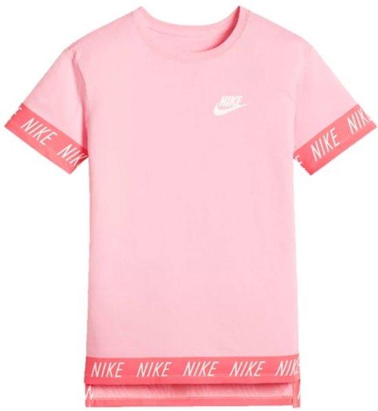 Nike NSW Tee Hilo Tape Sportshirt Dames - Roze/Wit - Maat L