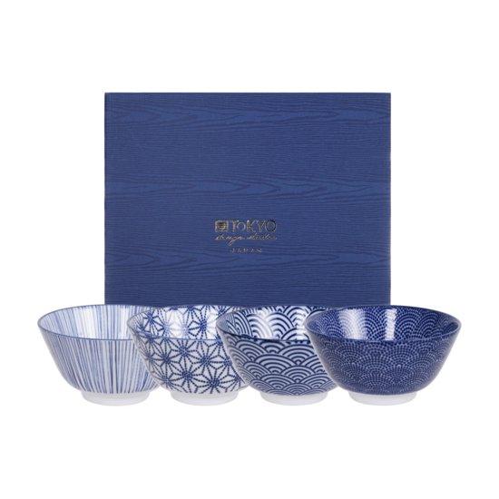 Tokyo Design Studio Nippon Blue Set van 4 Kommen Ø 12 cm in fraaie Geschenkdoos