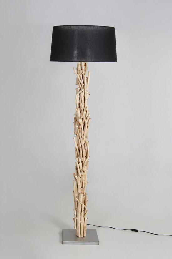 Staande Lamp Blank Hout Lampenkap Zwart 170cm