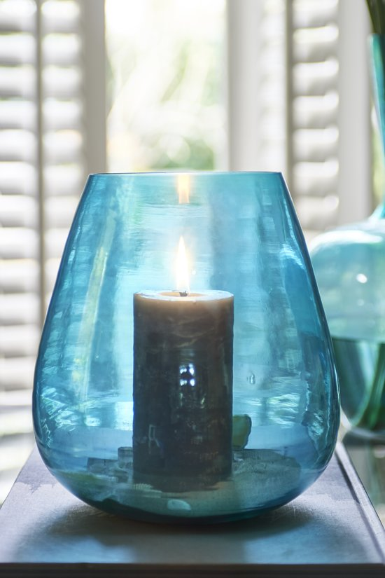 Riviera Maison Formentera Luster Hurricane - Windlicht - blauw - Glas