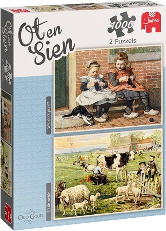 Ot en Sien 2 in 1 Puzzel Wat doet Poes en In de Weide 2 x 1000 Stukjes