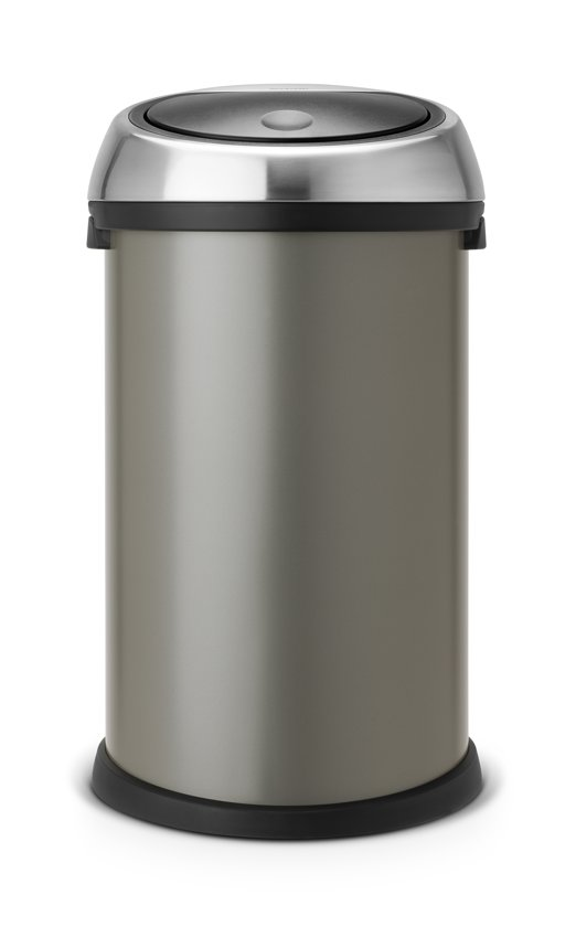 Brabantia Afvalemmer Touch Bin 50 Liter.Afvalverzamelaar 50 Liter Touch Bin Met Kunststof Binnenemmer Met Matt Steel Deksel Platinum