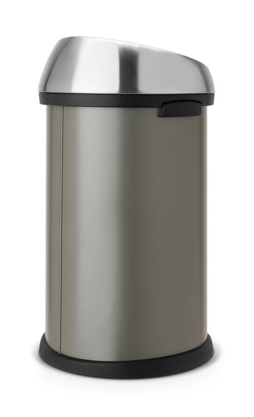 Brabantia Touch Bin 50 Liter Platinum.Afvalverzamelaar 50 Liter Touch Bin Met Kunststof Binnenemmer Met Matt Steel Deksel Platinum