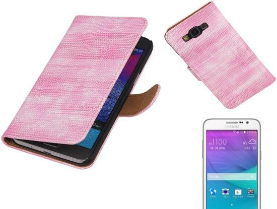 MP Case Lizard Bookstyle Hoes voor Galaxy Grand MAX G720 Roze in Waanrode