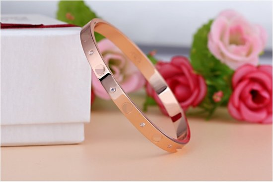 Armband stainless steel vrouwen  (rose goudkleurig)