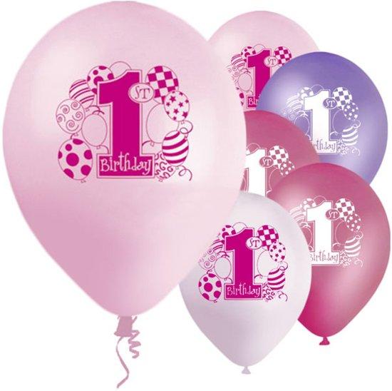 Ballonnen '1st Birthday' Roze Paars  - 8 stuks