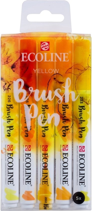 "Talens Ecoline 5 brush pens ""Yellow"""