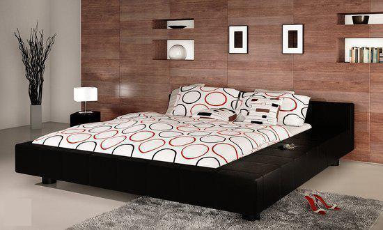 Bol.com vidaxl bed 2 persoons bed futon zwart leer 180 x 200 met