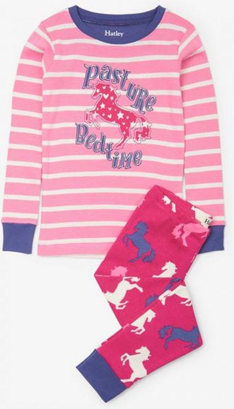Pyjama meisjes paarden Hatley - Biologisch katoen maat 7 jaar