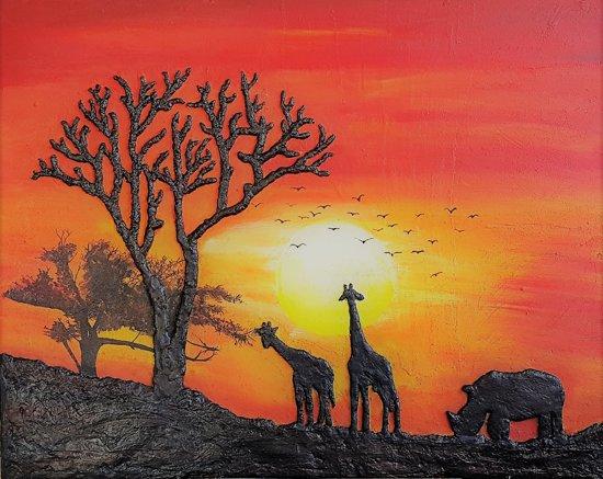 3D Schilderij - Afrikaanse Silhouet