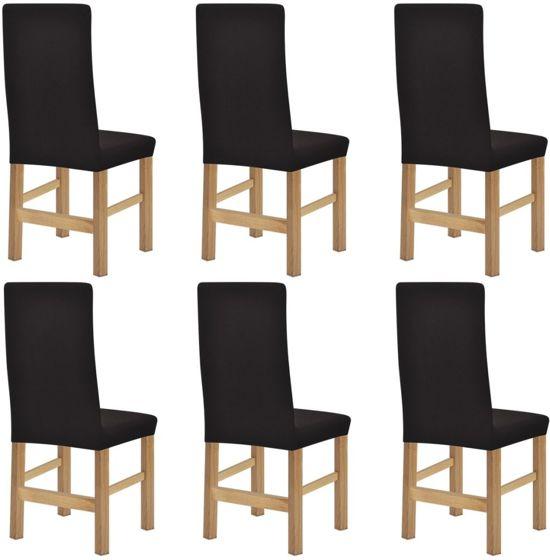 bol.com | vidaXL stoelhoezen stretch 6 st bruin polyester ribstof