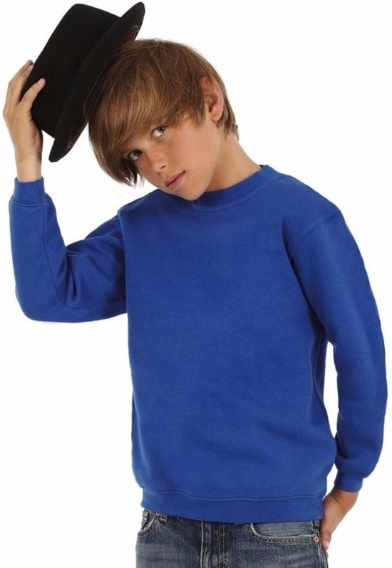 Kobaltblauwe katoenmix sweater voor jongens 5-6 jaar (110/116)