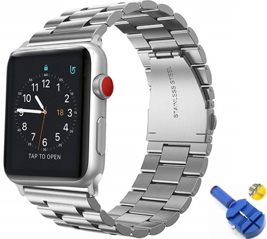 Metalen Armband Voor Apple Watch Series 1/2/3/4 42/44 MM Horloge Band Strap iWatch Schakel Polsband - Zilver Kleurig