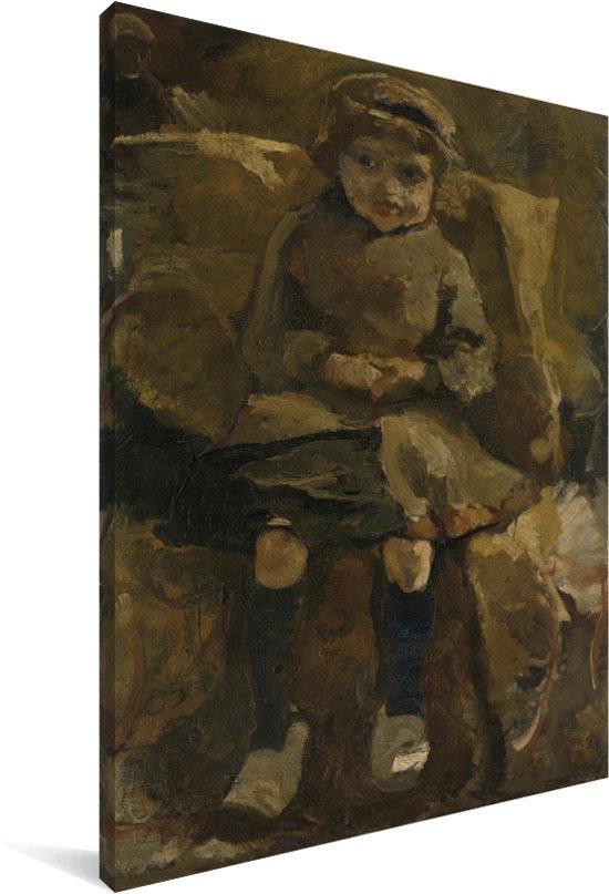 De klompjes - Schilderij van George Hendrik Breitner Canvas 90x140 cm - Foto print op Canvas schilderij (Wanddecoratie woonkamer / slaapkamer)