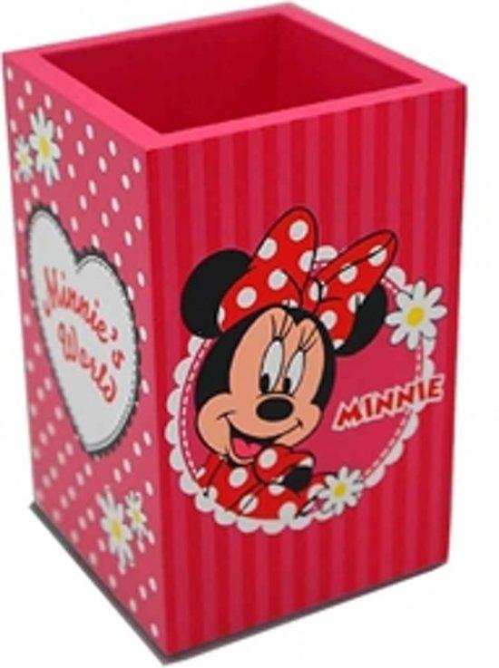 Minnie World's houten pennenhouder pink