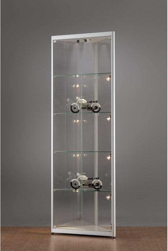 Hoek Vitrinekast Glas.Bol Com Luxe Vitrinekast Hoek Aluminium 50 Cm Met Verstelbaar