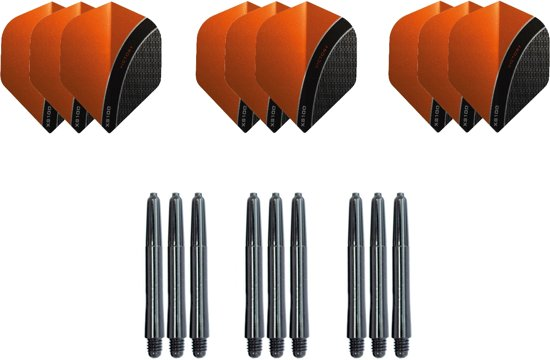 Dragon darts - Dartset - 3 sets Curve dart flights en 3 sets nylon darts shafts - 18 pcs - Oranje - darts flights