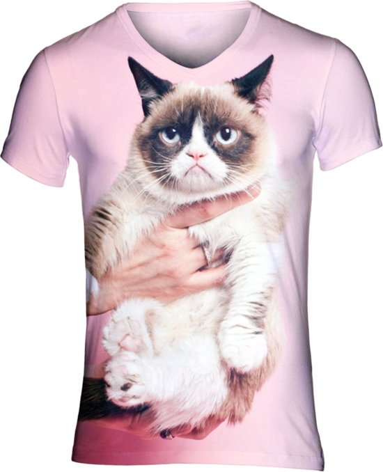 Grumpy cat roze festival shirt Maat: M V-hals
