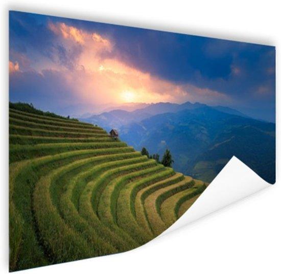 Rijstveld zonsondergang Poster 120x80 cm - Foto print op Poster (wanddecoratie woonkamer / slaapkamer)