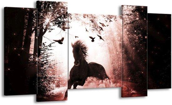 Canvas schilderij Paard   Rood, Zwart, Wit   120x65 5Luik