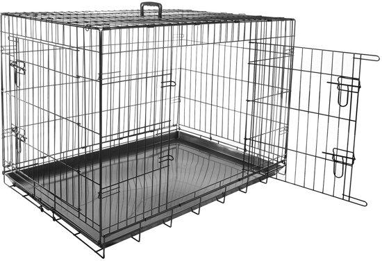 Wire cage black 2 doors 109x70x76cm