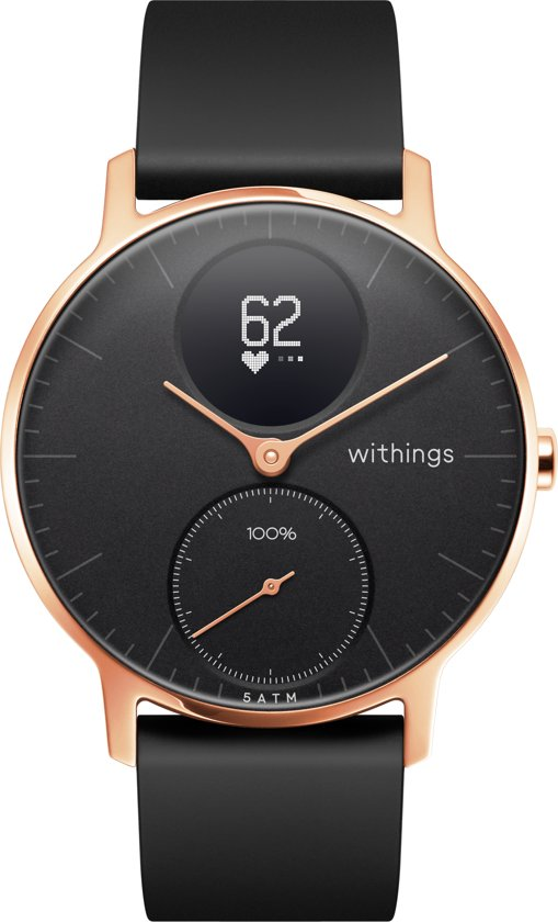 Nokia/Withings Steel HR Rosegold - Hybride Smartwatch - Siliconen bandje zwart - Ø 36 mm