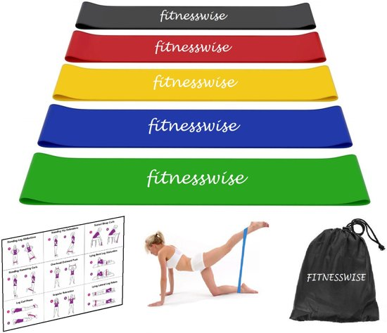 FITNESSWISE premium weerstandsbanden set van 5 stuks, inclusief oefeningen & handige opberghoes