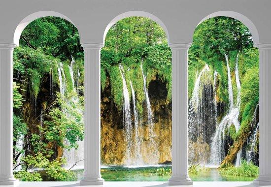 Fotobehang Waterfall Looking Through Arches   L - 152.5cm x 104cm   130g/m2 Vlies