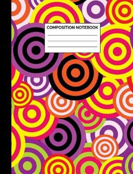 Composition Notebook: Retro Purple & Black Circles Pattern Wide Ruled Lined Note Book - Cool Vintage Style Journal with Lines for Kids, Teen