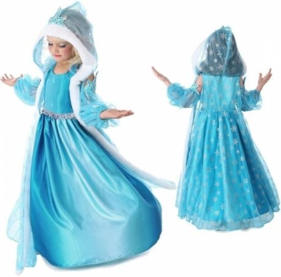 Prinses - Elsa - mouwloze jurk met losse mouwen en cape - maat 116/122 + 4-delig accessoires set