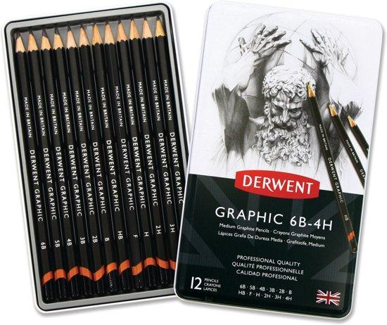 Derwent Graphic Medium potloden set in blik assorti 12 stuks