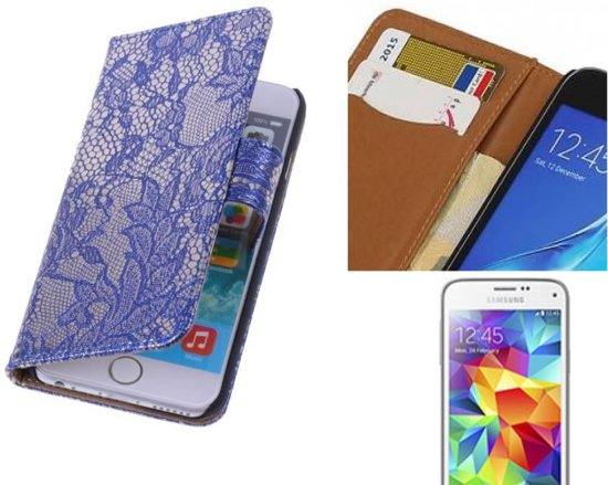 MP Case Lace Bookstyle Hoes voor Galaxy S5 mini G800F Blauw in Willemstad