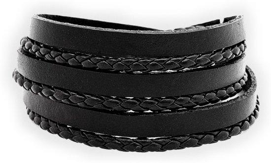 Armband leer dames heren 20cm wikkelarmband zwart met clip sluiting Galeara AVA