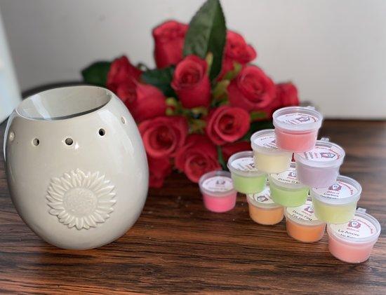 Wax Melts (parfum)geuren verrassingspakket met 10 geuren incl. DHHM | Geurbrander | Bloem | Licht Grijs