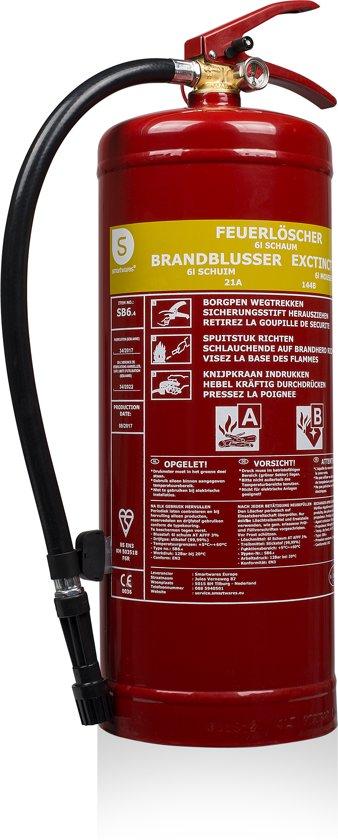 Smartwares SB6 Brandblusser – Schuimblusser – 6 kg – Brandklasse AB – Inclusief ophangbeugel – BSI gecertificeerd – SB6