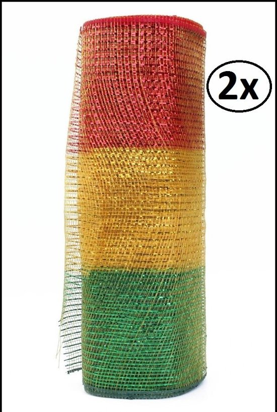 2x Rol tule rood/geel/groen smalle streep 9,14 meter