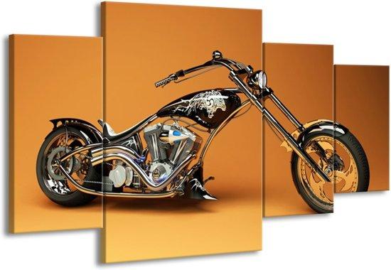 Canvas schilderij Motor   Oranje, Bruin, Zwart   160x90cm 4Luik