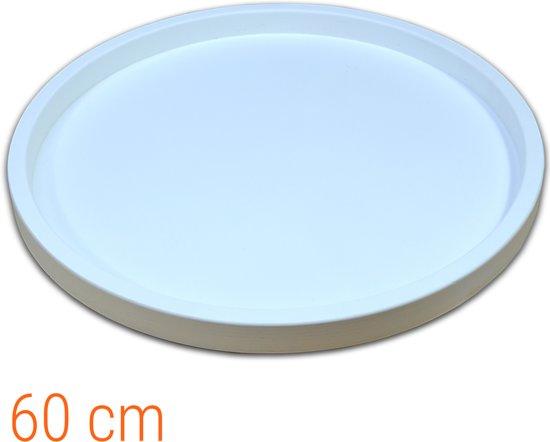 Dienblad Hout Rond Wit 60 cm | Houten Dienbladen 60x60cm Decoratie Serveerplank Groot